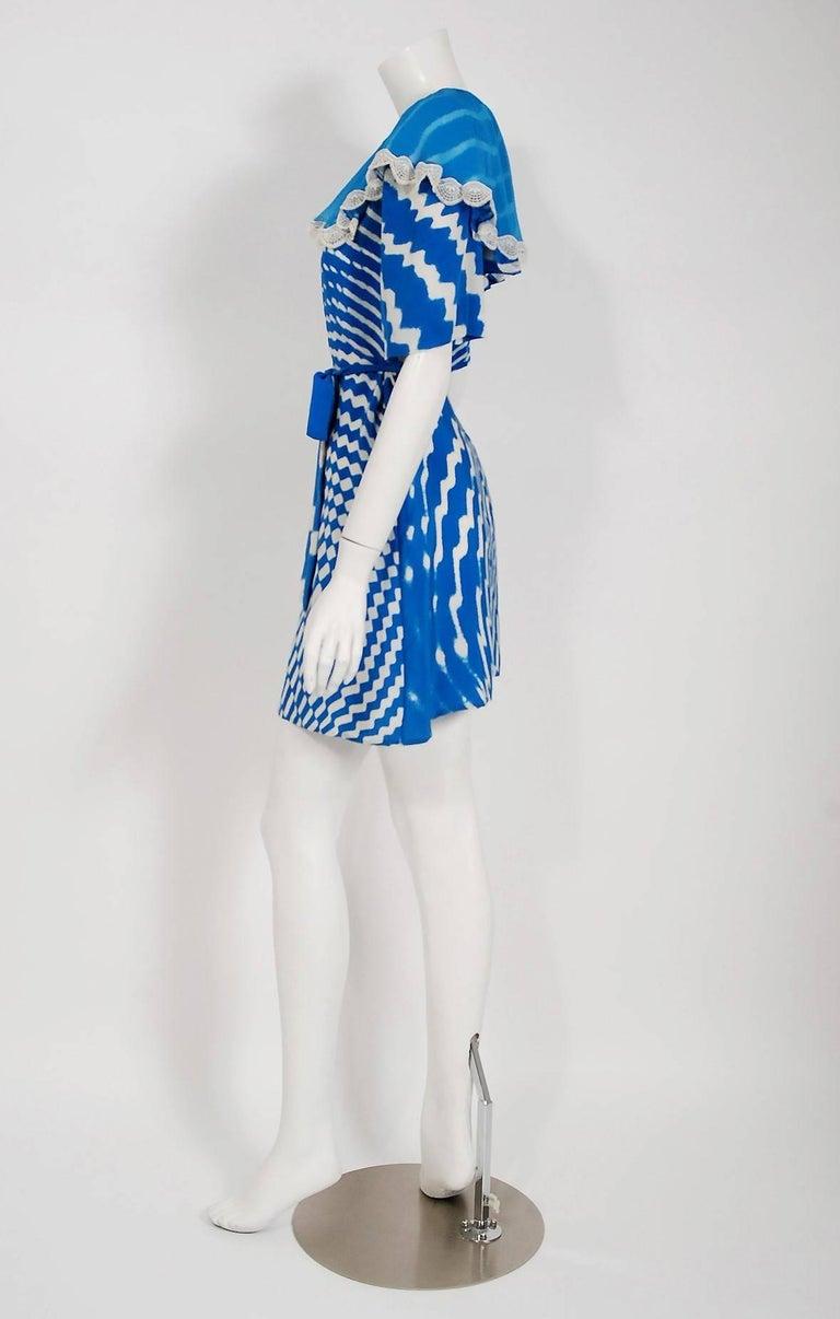 Vintage 1970 Thea Porter Couture Graphic Blue Silk Portrait Collar Tunic Dress For Sale 1