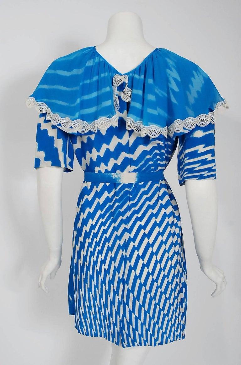 Vintage 1970 Thea Porter Couture Graphic Blue Silk Portrait Collar Tunic Dress For Sale 2