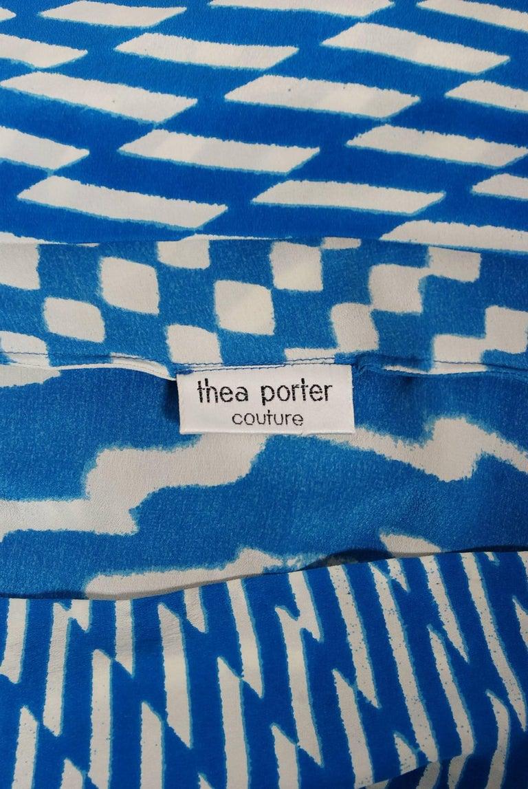 Vintage 1970 Thea Porter Couture Graphic Blue Silk Portrait Collar Tunic Dress For Sale 3
