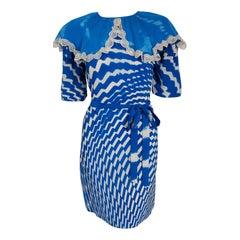 1970 Thea Porter Couture Blue & White Graphic Silk Portrait Collar Tunic Dress