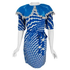 1970 Thea Porter Couture Blue & White Graphic Silk Portrait Collar Tunic Dress