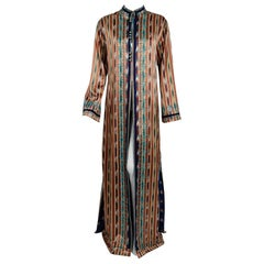1970 Thea Porter Couture Embroidered Ikat Print Silk Full-Length Bohemian Jacket
