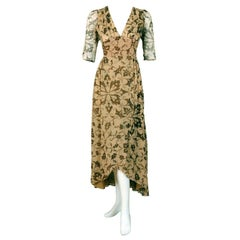 1970 Thea Porter Couture Gold Beige Print Smocked Silk-Chiffon Draped Dress