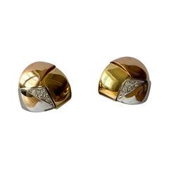 1970 Tricolor 18 K Gold Earclips Diamonds Signed Gubelin