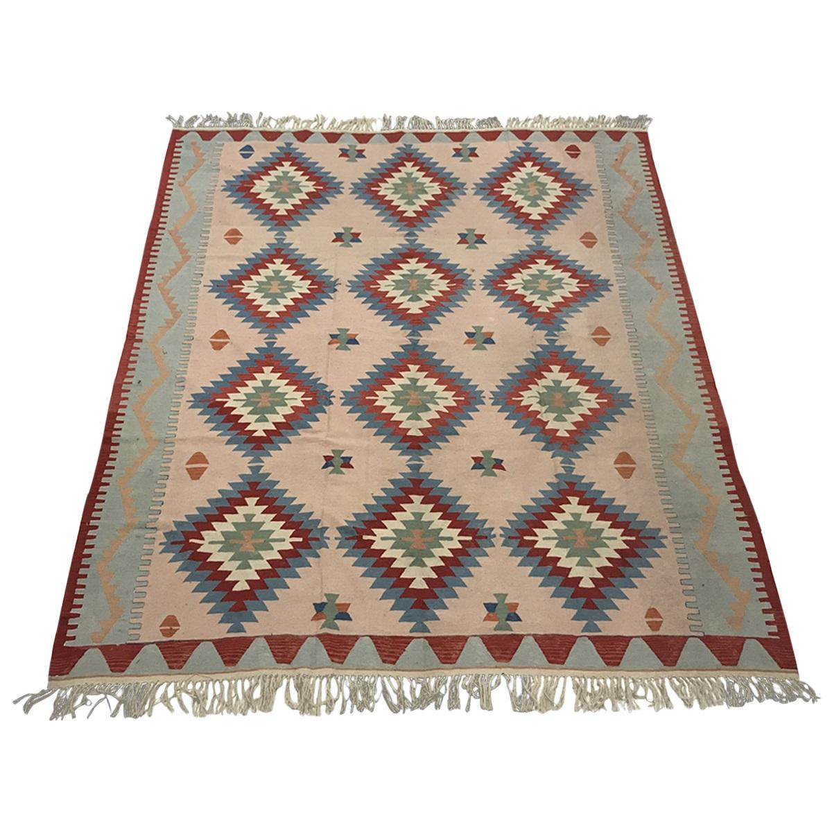 1970 Turkish Wool Ghelim One-of-a Kind Vintage and Antique Rug