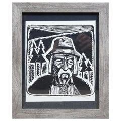 """1970 Ukrainian Etching """"Hutsul"""" Old Man Mustache Farmer USSR Soviet Avant Garde"""