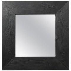 1970 Vintage  Mirror with Black Wood Frame