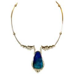 1970 Vintage Opal Diamonds Necklace 18 Karat White Gold