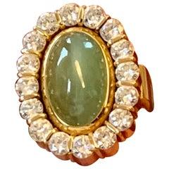 1970 Vintage Ring 18 K Yellow Gold Diamonds Cat's Eye Chrysoberyl Kurz Switzerla