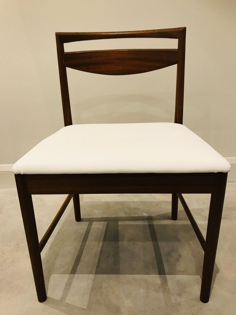 1970 Vintage Teak McIntosh Retro Dining Chairs Upholstered in White Leather For Sale 5
