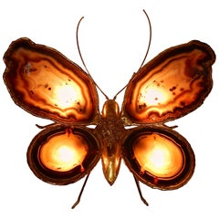 1970 Wall Lamp Butterfly Isabelle Faure or Duval Brasseur With Wings Agates