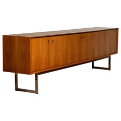 1970, Wide Credenzas Sideboard in Walnut with Chrome Handles and Legs