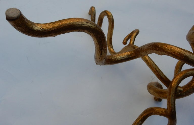 1970 Wrought Iron Coffee Table with Interlacing In The Style Of Giacometti For Sale 4