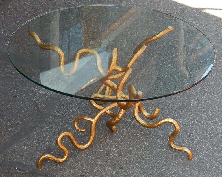Brutalist 1970 Wrought Iron Coffee Table with Interlacing In The Style Of Giacometti For Sale
