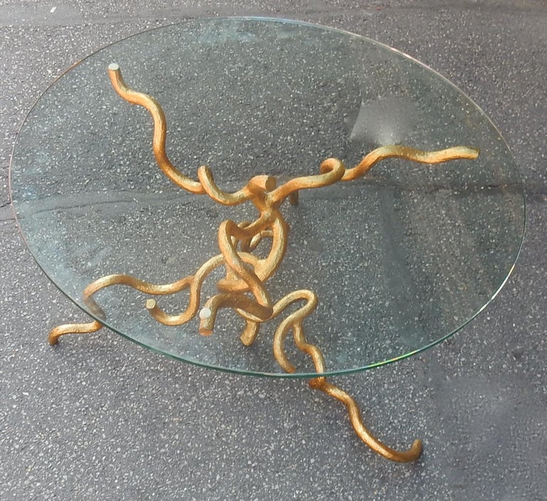 Italian 1970 Wrought Iron Coffee Table with Interlacing In The Style Of Giacometti For Sale