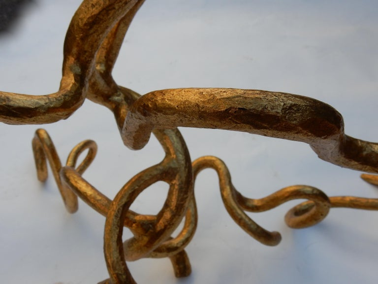 1970 Wrought Iron Coffee Table with Interlacing In The Style Of Giacometti For Sale 2
