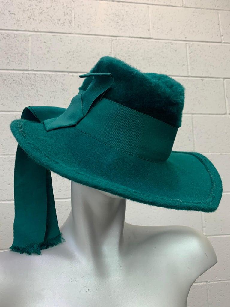 Women's or Men's 1970 Yves Saint Laurent Emerald Green Fur Felt Fedora W/ Ribbon Streamers  For Sale
