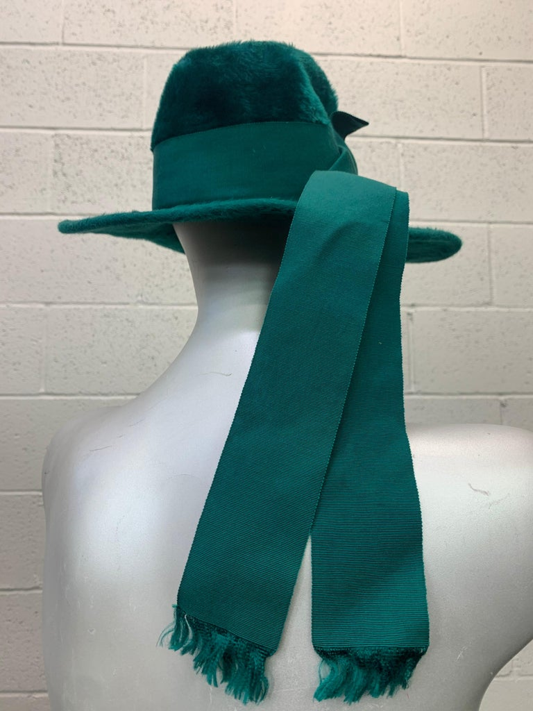 1970 Yves Saint Laurent Emerald Green Fur Felt Fedora W/ Ribbon Streamers  For Sale 2