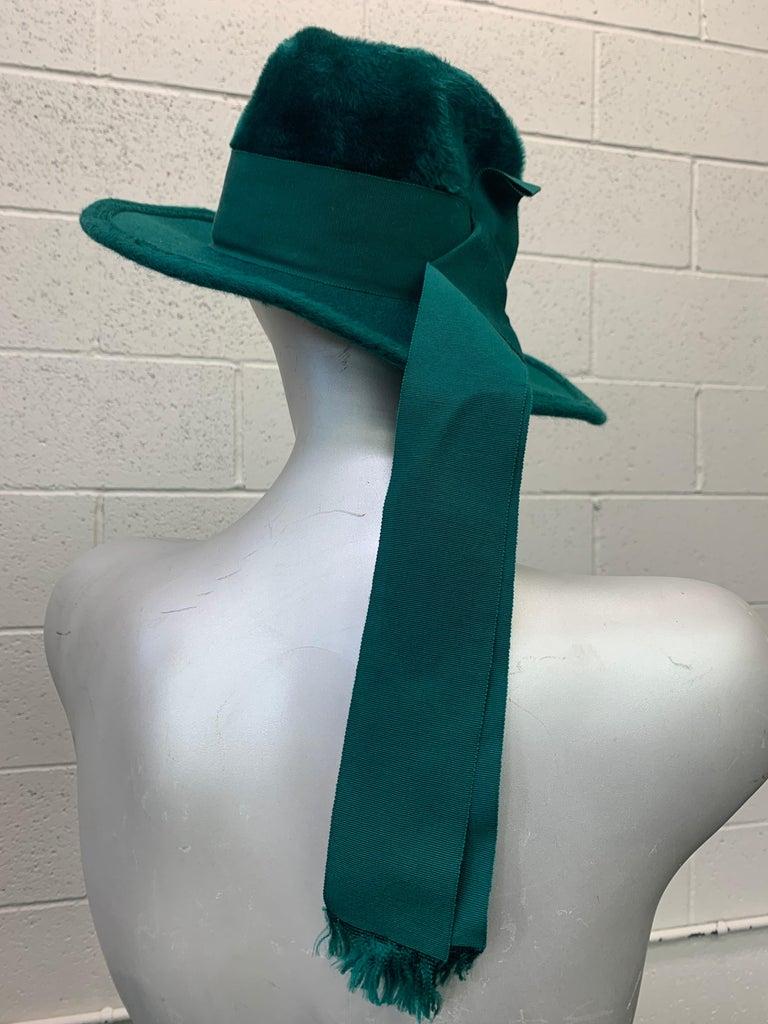 1970 Yves Saint Laurent Emerald Green Fur Felt Fedora W/ Ribbon Streamers  For Sale 3