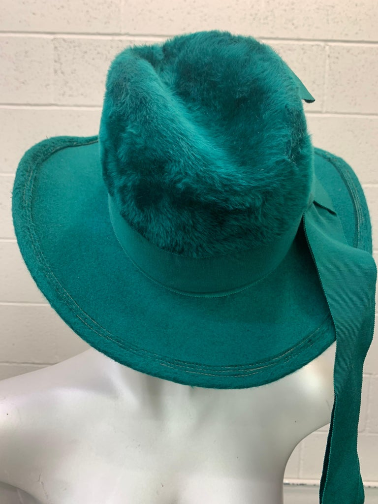 1970 Yves Saint Laurent Emerald Green Fur Felt Fedora W/ Ribbon Streamers  For Sale 5