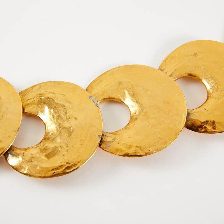 1970 Yves Saint Laurent Vintage Gold Tone Textured Belt For Sale 5