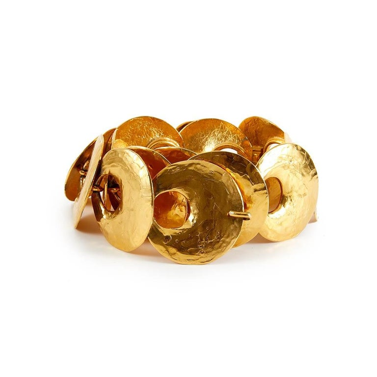 Brown 1970 Yves Saint Laurent Vintage Gold Tone Textured Belt For Sale