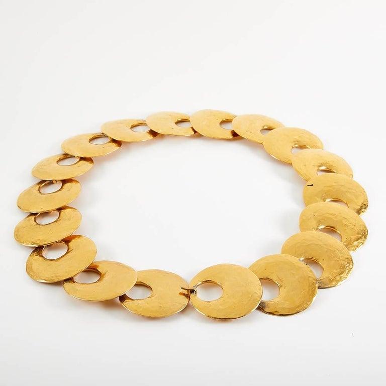 Women's 1970 Yves Saint Laurent Vintage Gold Tone Textured Belt For Sale