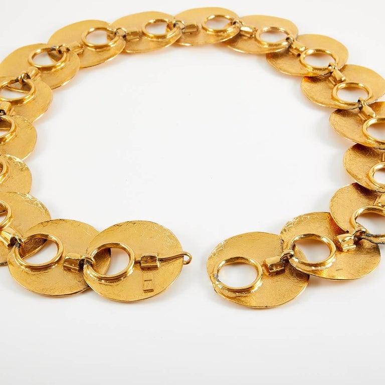 1970 Yves Saint Laurent Vintage Gold Tone Textured Belt For Sale 1