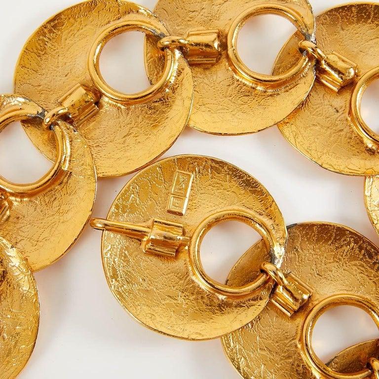 1970 Yves Saint Laurent Vintage Gold Tone Textured Belt For Sale 2
