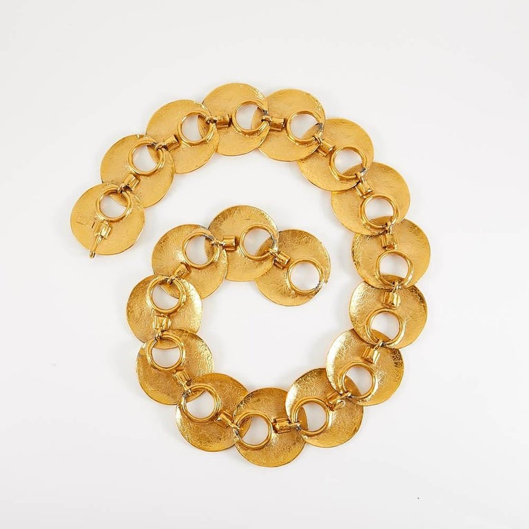 1970 Yves Saint Laurent Vintage Gold Tone Textured Belt For Sale 3