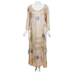 1970 Zandra Rhodes Attributed Print Silk Satin Feather-Fringe Maxi Dress Gown