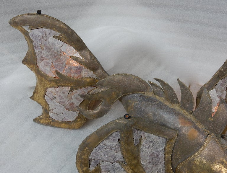 1970′Eluminating Brass Fish Coffee Table with Mika Violet Style Duval Brasseur In Fair Condition For Sale In Paris, FR