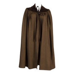1970s Iconic Yves Saint Laurent Brown Wool Velvet Cape