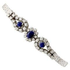 1970s 1.18 Carat Sapphire and 1.42 Carat Diamond White Gold Bracelet