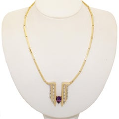 1970s 14 Karat Channel Set Diamonds and Pear Shape Amethyst Necklace