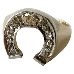 1970s 14 Karat Gold Diamond Lucky Horseshoe Gamblers Ring