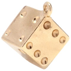 1970s 14 Karat Gold Dice Charm