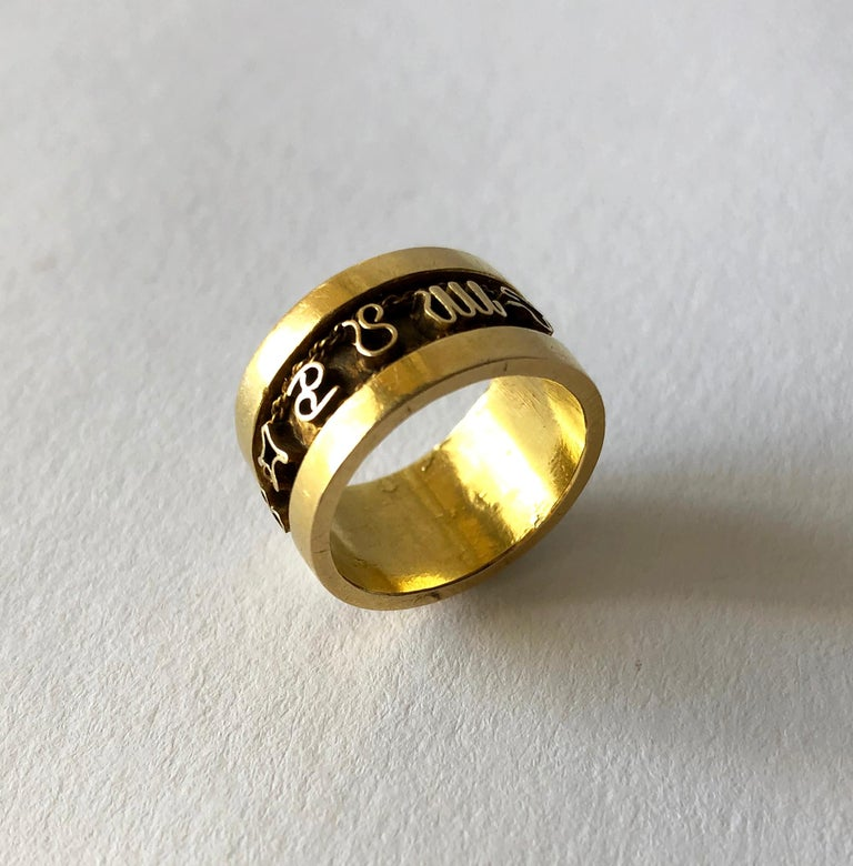 Artisan 1970s 14 Karat Gold Signs of the Zodiac Band Ring For Sale