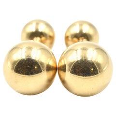 1970s 14 Karat Yellow Gold Ball Cufflinks