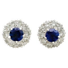 1970s 1.40 Carat Sapphire and Diamond White Gold Stud Earrings