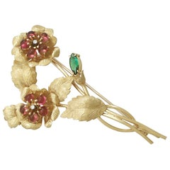 1970s 1.75 Carat Tourmaline and Diamond Yellow Gold Brooch