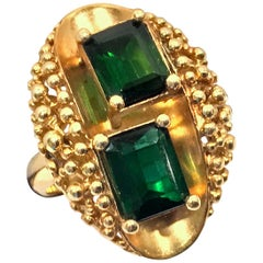 1970s 18 Karat Abstract Tourmaline Ring