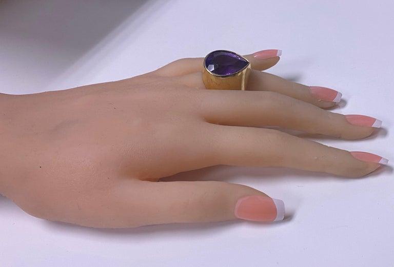 1970s 18 Karat Amethyst Large Ring For Sale 1