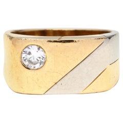 1970s 18 Karat Bi-Color Gold Diamond Ring