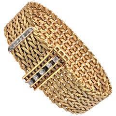 1970s 18 Karat Diamond Adjustable Bracelet