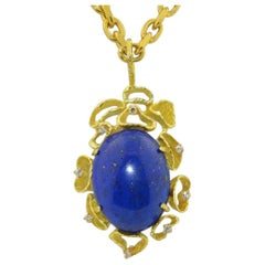 1970s 18 Karat Gold VS Diamond Lapis Lazuli Necklace Pendant