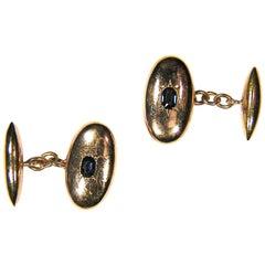 1970s 18 Karat Rose Gold Blue Sapphires Cufflinks Vintage