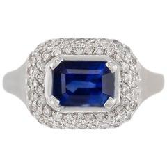 1970s 18 Karat White Gold Sapphire and Diamond