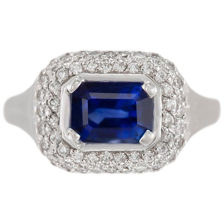 1970s 18 Karat White Gold Sapphire and Diamond For Sale