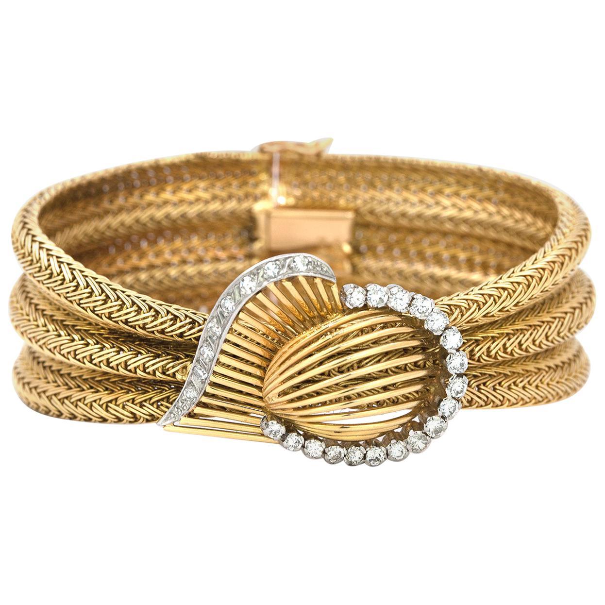 1970s 18 Karat Yellow Gold and Diamond Retro Mesh Cuff Bracelet